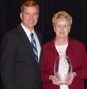 Gov. Matt Blunt with Houston's Elaine Campbell during a Kansas City conference that saw Downtown Houston, Inc.., win the governor's award for economic development.